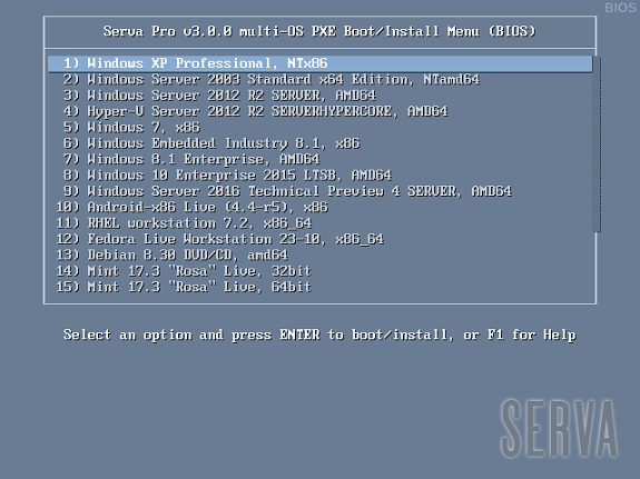 PXE Server for Windows (UEFI & BIOS) - Serva