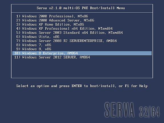 serva pxe binl an01 windows install
